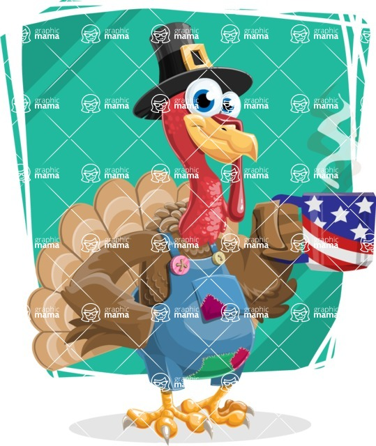 Thanksgiving Turkey Cartoon Vector Character AKA Mr. Turkey McFarm - Shape 6