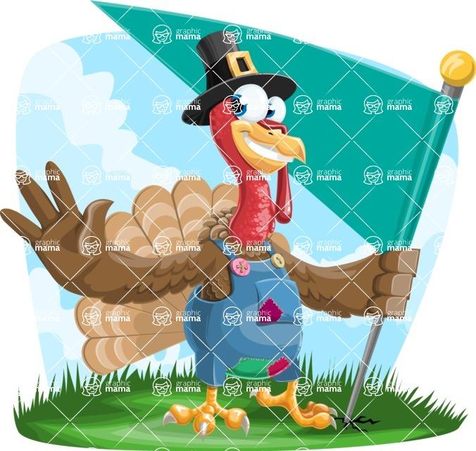 Thanksgiving Turkey Cartoon Vector Character AKA Mr. Turkey McFarm - Shape 9