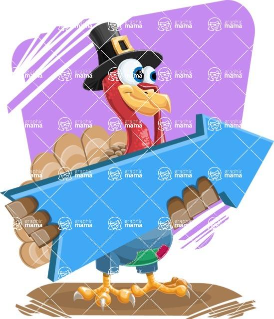 Thanksgiving Turkey Cartoon Vector Character AKA Mr. Turkey McFarm - Shape 11