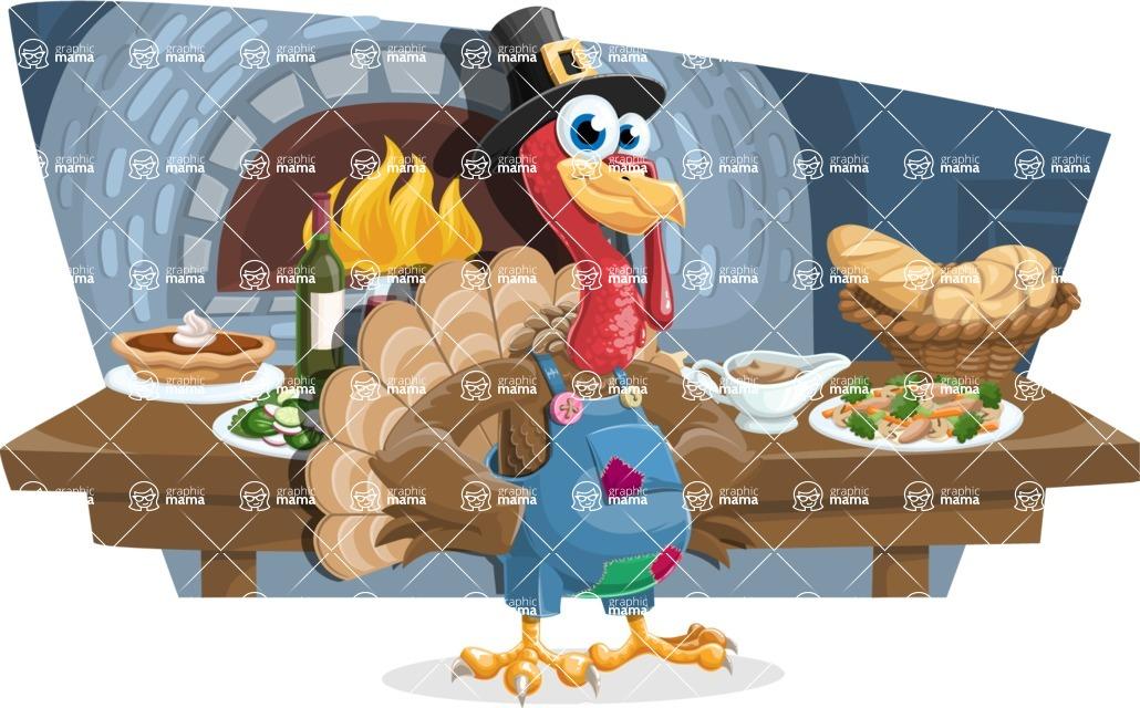 Thanksgiving Turkey Cartoon Vector Character AKA Mr. Turkey McFarm - Shape 12