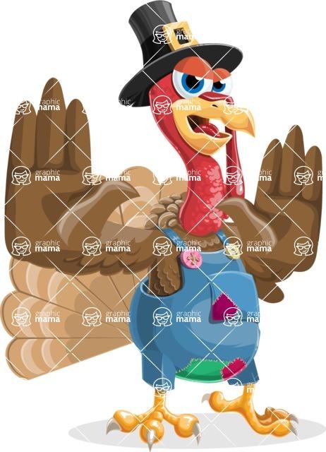 Thanksgiving Turkey Cartoon Vector Character AKA Mr. Turkey McFarm - Stop