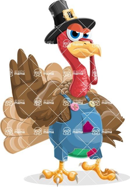 Thanksgiving Turkey Cartoon Vector Character AKA Mr. Turkey McFarm - Stop 2