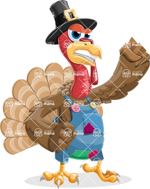 Thanksgiving Turkey Cartoon Vector Character AKA Mr. Turkey McFarm - Angry
