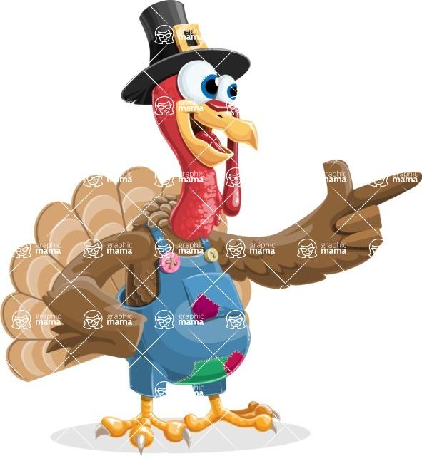 Thanksgiving Turkey Cartoon Vector Character AKA Mr. Turkey McFarm - Attention
