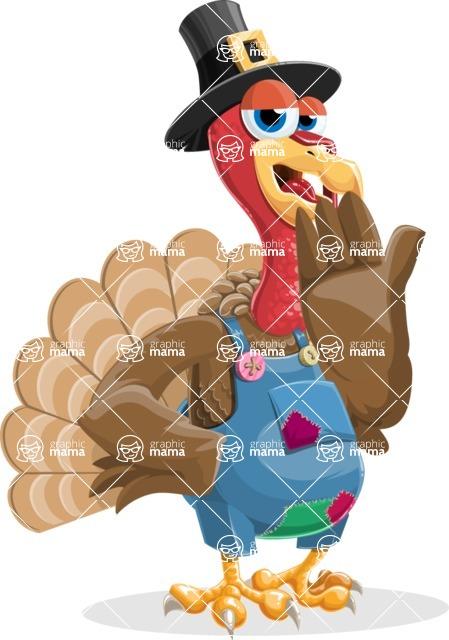 Thanksgiving Turkey Cartoon Vector Character AKA Mr. Turkey McFarm - Bored 2
