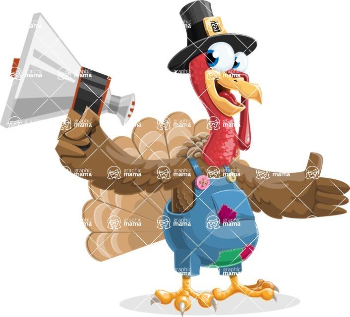 Thanksgiving Turkey Cartoon Vector Character AKA Mr. Turkey McFarm - Loudspeaker