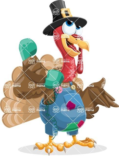 Thanksgiving Turkey Cartoon Vector Character AKA Mr. Turkey McFarm - Support