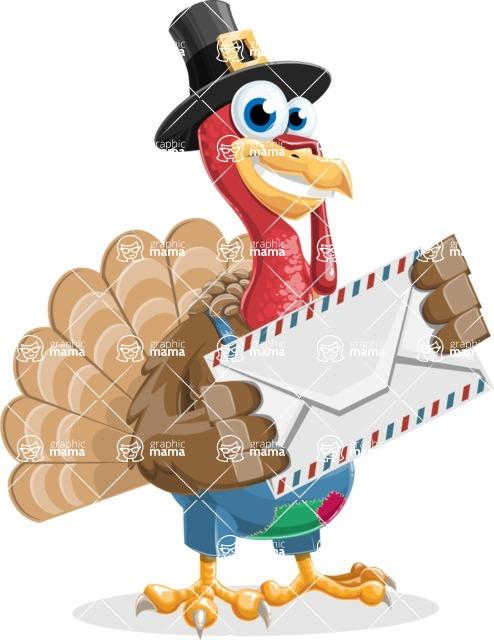 Thanksgiving Turkey Cartoon Vector Character AKA Mr. Turkey McFarm - Letter