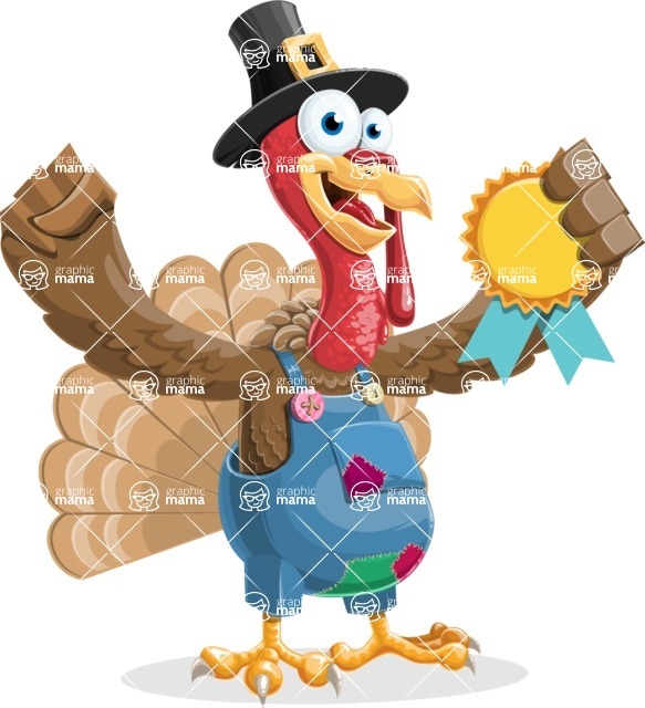 Thanksgiving Turkey Cartoon Vector Character AKA Mr. Turkey McFarm - Ribbon
