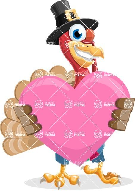 Thanksgiving Turkey Cartoon Vector Character AKA Mr. Turkey McFarm - Love