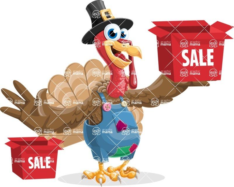 Thanksgiving Turkey Cartoon Vector Character AKA Mr. Turkey McFarm - Sale 1
