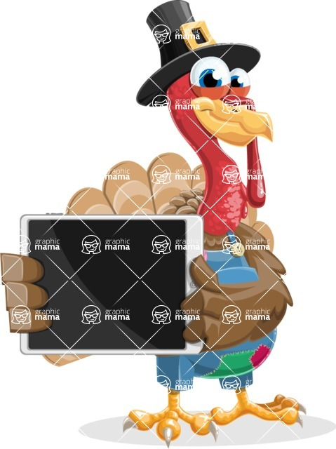 Thanksgiving Turkey Cartoon Vector Character AKA Mr. Turkey McFarm - iPad 2
