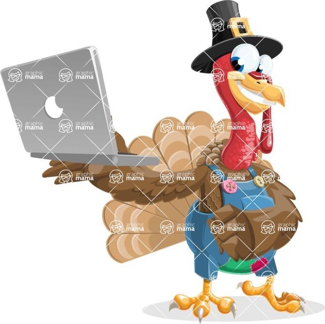 Thanksgiving Turkey Cartoon Vector Character AKA Mr. Turkey McFarm - Laptop 1