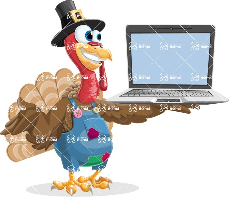 Thanksgiving Turkey Cartoon Vector Character AKA Mr. Turkey McFarm - Laptop 3