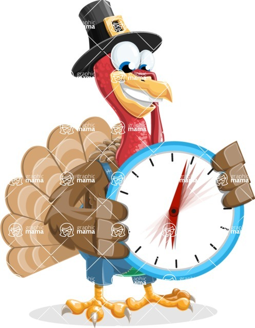 Thanksgiving Turkey Cartoon Vector Character AKA Mr. Turkey McFarm - Time is yours