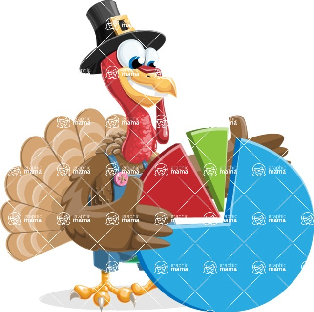 Thanksgiving Turkey Cartoon Vector Character AKA Mr. Turkey McFarm - Chart