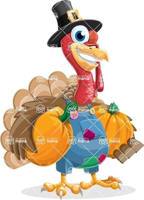 Thanksgiving Turkey Cartoon Vector Character AKA Mr. Turkey McFarm - Pumpkin 2