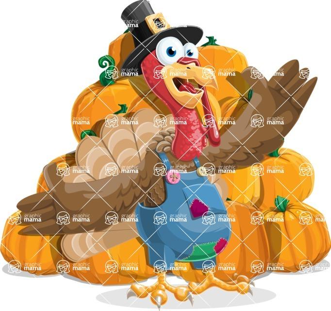 Thanksgiving Turkey Cartoon Vector Character AKA Mr. Turkey McFarm - Pumpkin 4