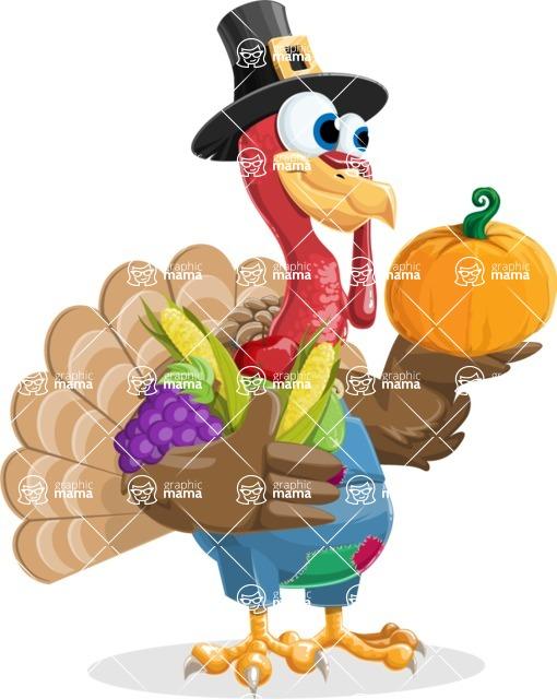 Thanksgiving Turkey Cartoon Vector Character AKA Mr. Turkey McFarm - Veggie handful