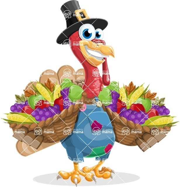 Thanksgiving Turkey Cartoon Vector Character AKA Mr. Turkey McFarm - Basket 2