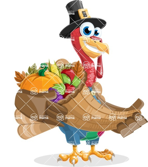 Thanksgiving Turkey Cartoon Vector Character AKA Mr. Turkey McFarm - Basket 4