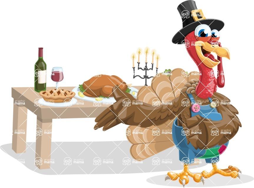 Thanksgiving Turkey Cartoon Vector Character AKA Mr. Turkey McFarm - Thanksgiving feast