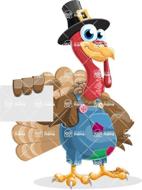 Thanksgiving Turkey Cartoon Vector Character AKA Mr. Turkey McFarm - Sign 1