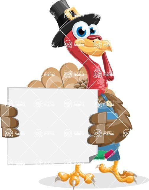 Thanksgiving Turkey Cartoon Vector Character AKA Mr. Turkey McFarm - Sign 4