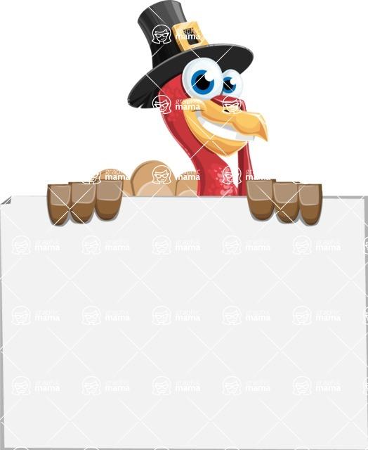 Thanksgiving Turkey Cartoon Vector Character AKA Mr. Turkey McFarm - Sign 6