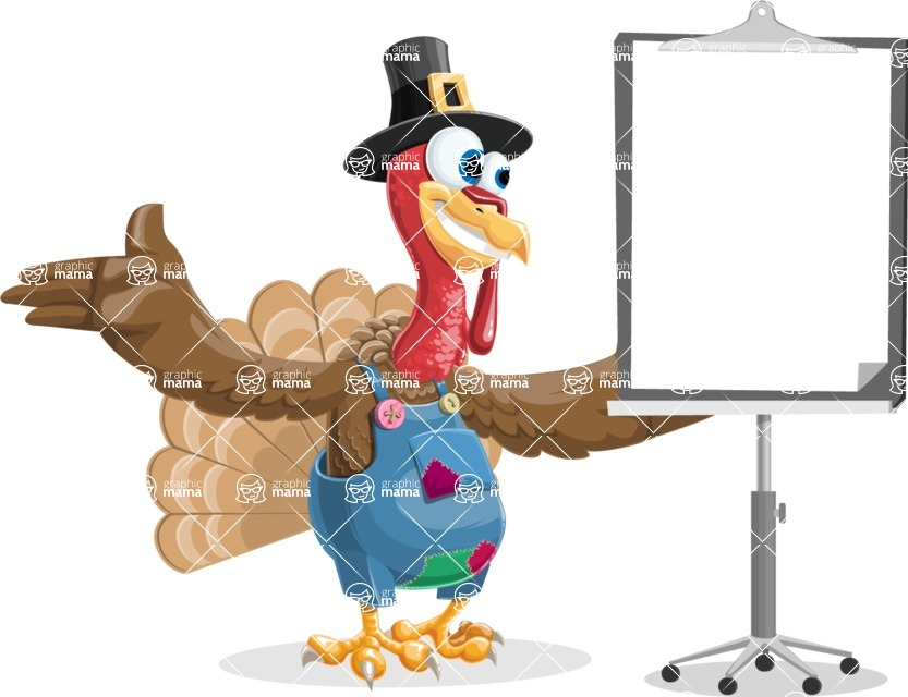 Thanksgiving Turkey Cartoon Vector Character AKA Mr. Turkey McFarm - Presentation 1