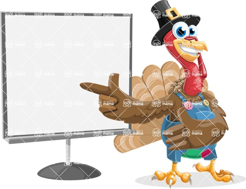 Thanksgiving Turkey Cartoon Vector Character AKA Mr. Turkey McFarm - Presentation 2