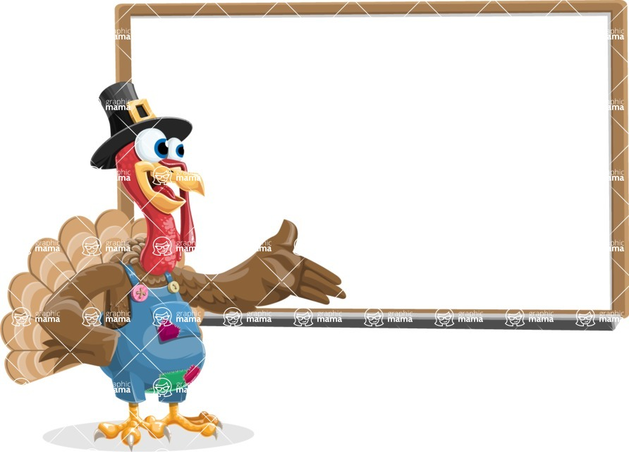 Thanksgiving Turkey Cartoon Vector Character AKA Mr. Turkey McFarm - Presentation 3