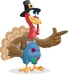 Thanksgiving Turkey Cartoon Vector Character AKA Mr. Turkey McFarm - Point 2