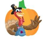 Thanksgiving Turkey Cartoon Vector Character AKA Mr. Turkey McFarm - Shape 1