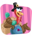 Thanksgiving Turkey Cartoon Vector Character AKA Mr. Turkey McFarm - Shape 2