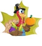 Thanksgiving Turkey Cartoon Vector Character AKA Mr. Turkey McFarm - Shape 4