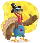 Thanksgiving Turkey Cartoon Vector Character AKA Mr. Turkey McFarm - Shape 5