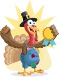 Thanksgiving Turkey Cartoon Vector Character AKA Mr. Turkey McFarm - Shape 8