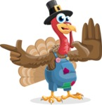 Thanksgiving Turkey Cartoon Vector Character AKA Mr. Turkey McFarm - Direct Attention
