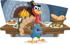 Thanksgiving Turkey Cartoon Vector Character AKA Mr. Turkey McFarm - Shape 12