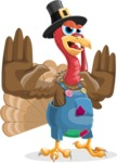 Thanksgiving Turkey Cartoon Vector Character AKA Mr. Turkey McFarm - Stop