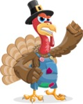 Thanksgiving Turkey Cartoon Vector Character AKA Mr. Turkey McFarm - Angry