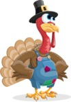 Thanksgiving Turkey Cartoon Vector Character AKA Mr. Turkey McFarm - Roll Eyes