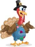 Thanksgiving Turkey Cartoon Vector Character AKA Mr. Turkey McFarm - Confused