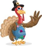 Thanksgiving Turkey Cartoon Vector Character AKA Mr. Turkey McFarm - Goodbye