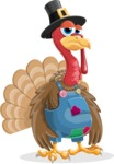Thanksgiving Turkey Cartoon Vector Character AKA Mr. Turkey McFarm - Bored