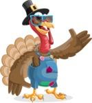 Thanksgiving Turkey Cartoon Vector Character AKA Mr. Turkey McFarm - Sunglasses