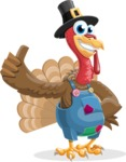 Thanksgiving Turkey Cartoon Vector Character AKA Mr. Turkey McFarm - Thumbs Up