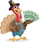 Thanksgiving Turkey Cartoon Vector Character AKA Mr. Turkey McFarm - Show me the money