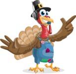 Thanksgiving Turkey Cartoon Vector Character AKA Mr. Turkey McFarm - Support 2